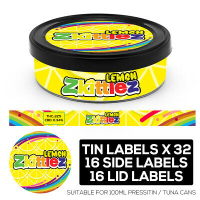 LEMON ZKITTLEZ Cali pressitin tuna Tin Labels Stickers RX Medical HIGH QUALITY
