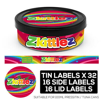 RX Medical ZKITTLEZ Cali pressitin Tin Labels Stickers CALI HIGH QUALITY