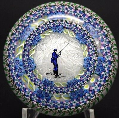 CHARMING Vintage PERTHSHIRE Millefiori Canes FISHERMAN Art Glass PAPERWEIGHT