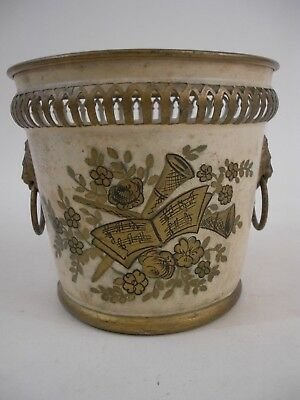Hand Painted Vintage Metal French Tole Cache Pot with Lion Ornamentation Rings