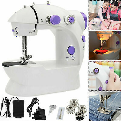 Electric Portable Sewing Machine Overlock LED 2 Speed Mains Powered Foot Pedal.