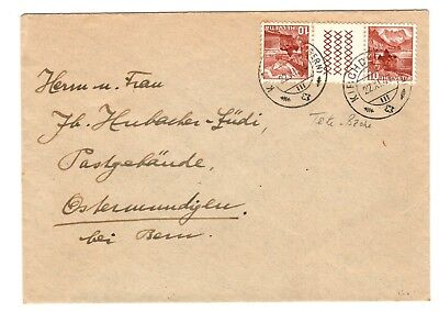 Switzerland 1946 Cover with 10c Red/Brown pair Tete Beche