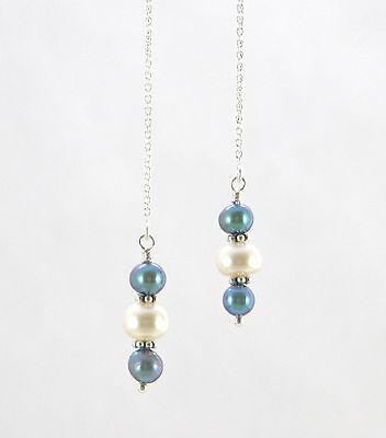 """IAJ"" STERLING SILVER Ear Threader Earrings w/ PEACOCK & WHITE FRESHWATER PEARLS"