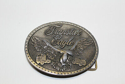 Vtg Transtar Eagle International Semi Truck Trucker Belt Buckle Silver Tone