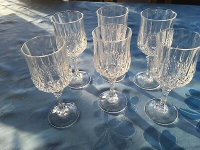 Set of 6 Used Cristal D'Arques Longchamp 24% Lead Crystal 15cl Wine Glasses.