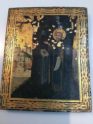 Rare 18th Or 19th Hand Painted Religious Icon On Wood Russian?