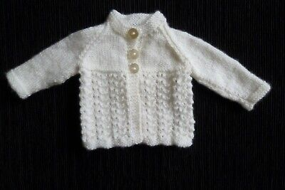 Baby clothes UNISEX BOY GIRL premature/tiny<4lbs/1.8kg white pattern cardigan