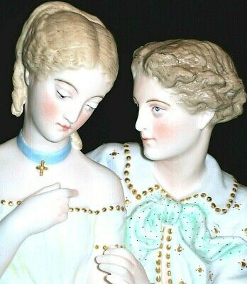 Antique French Paris Jean Gille Baury Courting Couple Lovers Lg Bisque Figurine