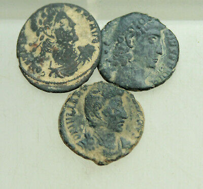 Lot of 3x Roman AE Coin Follis D=14-16mm For Cleaning