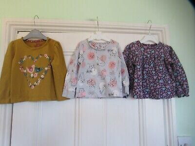 18-24m: 3 cute tops/t-shirts: Floral/Cats: Carter's/TU: Good condition