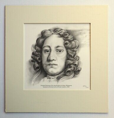 LITHOGRAPHY Original Drawing of Sir J.Houblon by Roger Withington £50 BANKNOTE