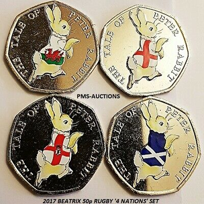 2017 BEATRIX POTTER PETER RABBIT 50P COLOUR DECAL RUGBY HOME NATION SET x4 COINS