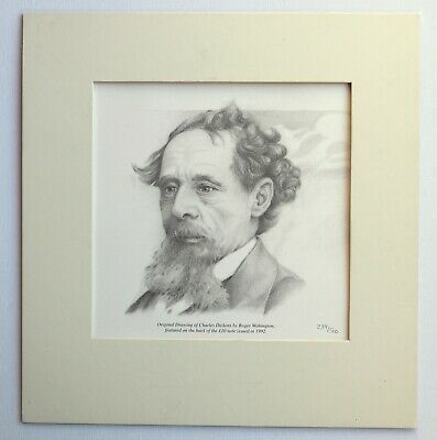 LITHOGRAPHY Original Drawing of Sir C.DICKENS by Roger Withington £10 BANKNOTE
