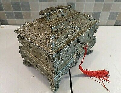 ANTIQUE FRENCH ROCOCO STYLE SILVER PLATED SPELTER CASKET BOX- LOCK & KEY- c1900