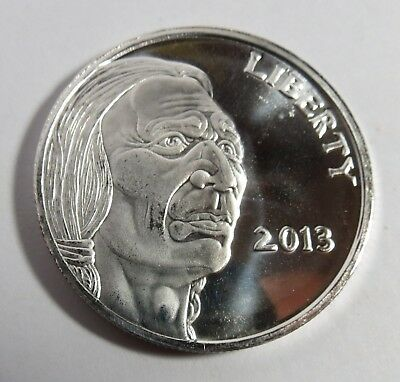 1 Troy Oz .999 Pure Silver 2013 Coin Buffalo Indian Round Fine