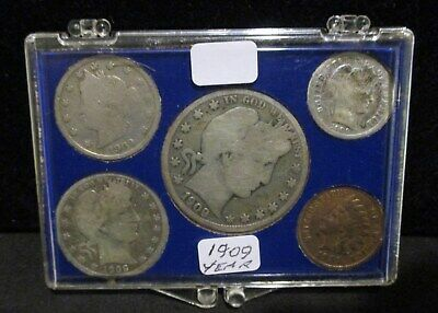 1909 5-Coin Year Set - Indian Cent, Liberty Nickel, Barber Dime, Quarter & Half