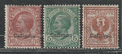 1912-22 Italian colony stamps, Agean Calino, 2c to 10c MH SC 1-3
