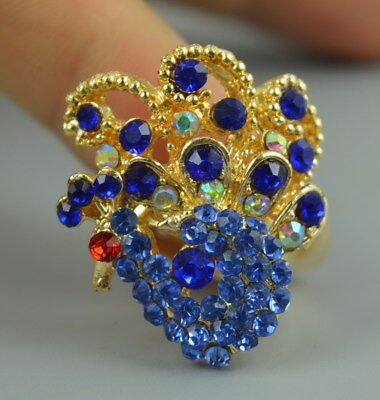 AA China Decor Brass Inlay Zircon Carve Phoenix Rare Adjust Ring Wonderful