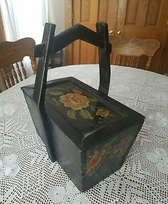 Stunning Antique Wood Rice Box Dovetail Mortise Tenon Painted Floral Design