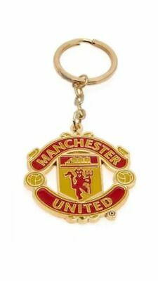 Official Manchester United Fc Man Utd Club Crest Metal Keyring Key Ring Gift