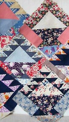 "6 FEEDSACK GALORE FLOWER BASKET QUILT BLOCKS 8.5"" sq c1930-45 All HAND-Pc'd"