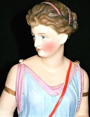 Antique German French Beautiful Lady Goddess Bisque Porcelain Figurine
