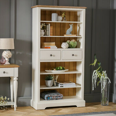 Chatsworth Cream Painted Large Tall Bookcase with 2 Drawers - Furniture - CTR19