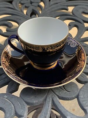 Lomonosov Cup And Saucer  Russian China Duo blue cobalt and gold colour USSR