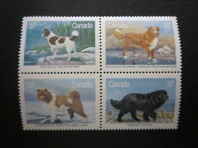 "Canada Stamps  #1217-20 1988 ""dogs Of Canada"" Block"