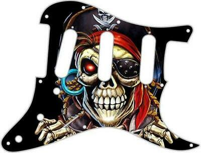 Stratocaster Pickguard Fender SSS 11 Hole Guitar Custom Graphical Pirate 1 BK