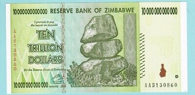 Zimbabwe 10 Trillion Dollars Banknote, AA /2008, UNC with letter