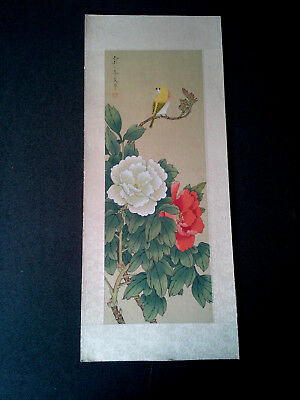 Vintage Chinese Bird Flower Painting On Silk
