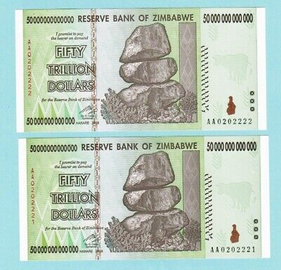 2x Zimbabwe 50 Trillion Dollars Banknotes, AA /2008, UNC with signed letter