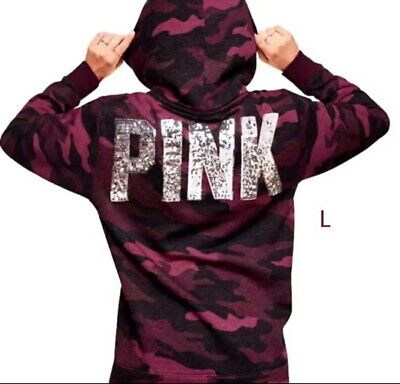 c8694a947 Victoria s Secret VS PINK Pullover Burgundy Camo BLiNG Sherpa Lined Hoodie  Large
