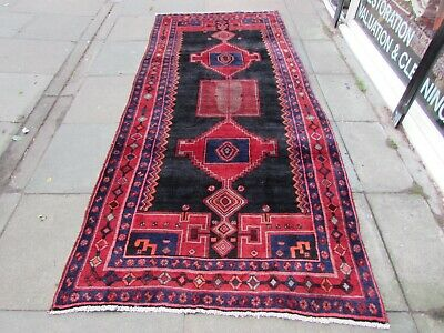 Old Hand Made Traditional Persian Rug Oriental Wool Blue Red Long Rug 300x133cm
