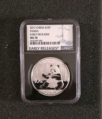 2017 China Silver Panda Ngc Ms70 Early Releases Black Label Ms-70