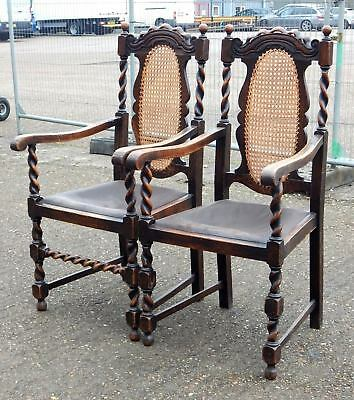 Superb pair of antique Jacobean solid oak armchairs with barley twist & bergere