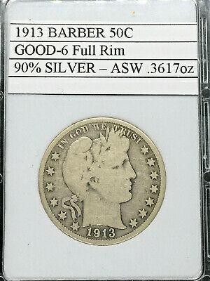 1913 Rare Date Good/very Good Barber Half Dollar 50C - Free Shipping