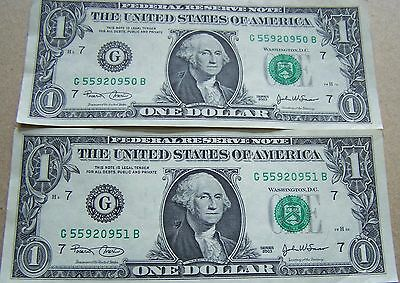2003  2 Consecutive, Uncirculated Federal Reserve $1.00 Notes, Chicago