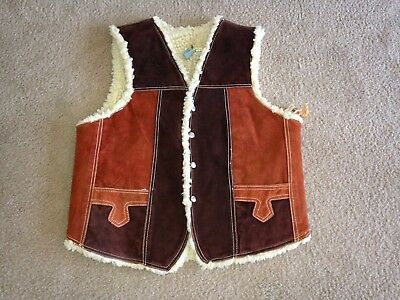 VIntage 1970 Genuine Leather / Suede Vest Sherpa Lined Mexico Men's 46