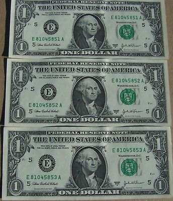 2003A  3 Consecutive,uncirculated $1.00 Federal Reserve Notes, Richmond