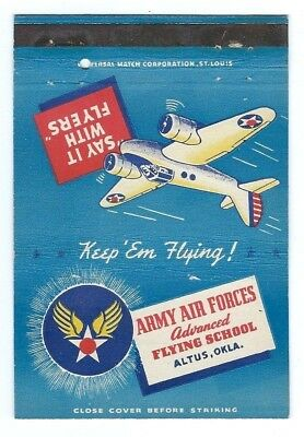 ARMY AIR FORCES - ALTUS, OKLAHOMA - WW II postcard matchcover - FLYING SCHOOL