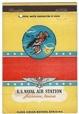 US NAVAL AIR - HUTCHINSON, KS - WW II postcard matchcover - WALT DISNEY ART