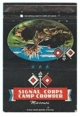 SIGNAL CORPS - CAMP CROWDER, MISSOURI postcard matchcover - AWESOME GRAPHICS!!!