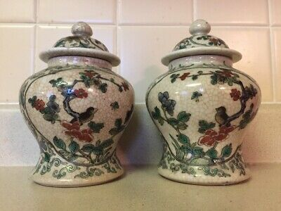 Pair Of Antique Chinese Hand Painted Porcelain Ginger Jar