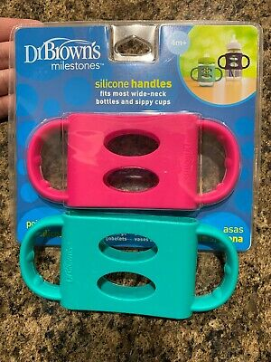 Dr. Brown's 100% Silicone Wide-Neck Baby Bottle Handles, Pink And Teal New/used