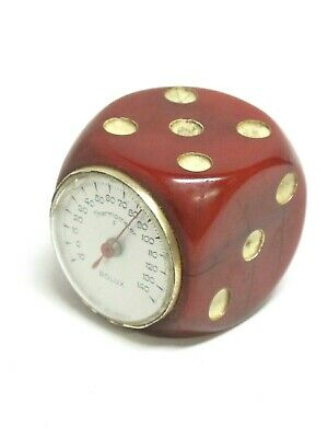 Art Deco 1930's ROLUX Red Swirl Bakelite Dice Thermometer Made in France Works!
