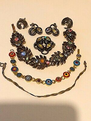 Mixed lot of vintage costume and sterling silver jewellery. Spares/resale/wear.