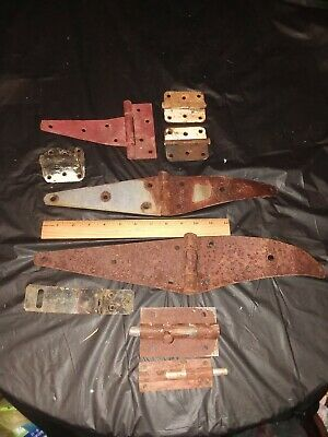 Vintage Lot Of 7 Strap Hinges-Plus 2 Bolt Locks Old Hardware Rustic Barn Door