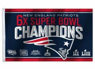 NEW New England Patriots 2018 Super Bowl 6X Champions 3x5 Flag Banner HOT!